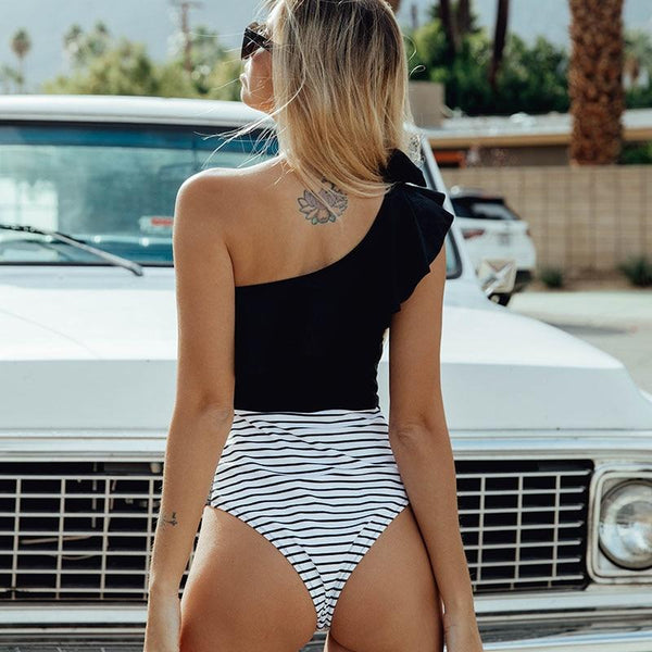 One Shoulder Lace Striped Swimsuit