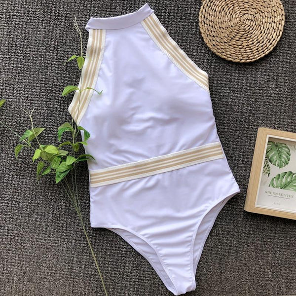 White High Neck Swimsuit