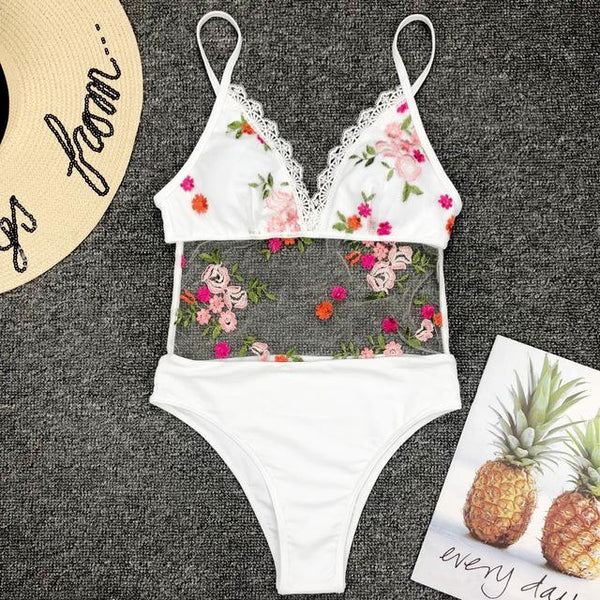 White Flower Embroidery Lace Swimwear