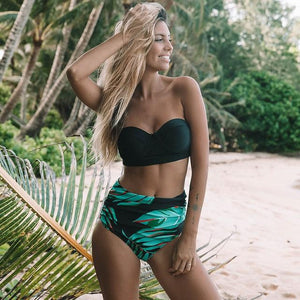 New Tropical Green Leafy High Waisted Bikinis