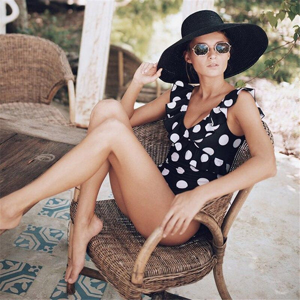 Black White Polka Dot Swimsuit