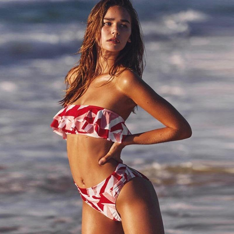 top style large discount hot sale online Red White Strapless Bikini Set