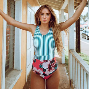 Hot Spring Floral Stripe Tie Up Swimsuit