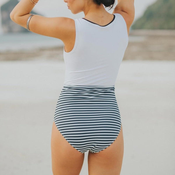Black White Striped Bathing Suit