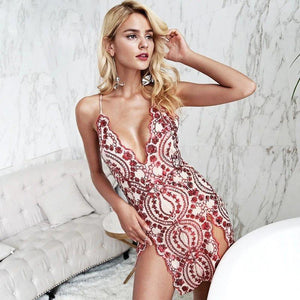Sexy Embroidery Bodycon Short Dress