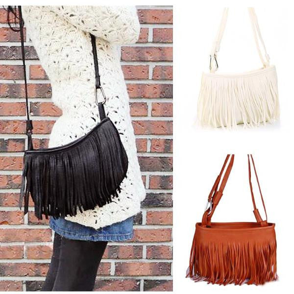 Woman's Tassel Shoulder Cross Handbag  - 1