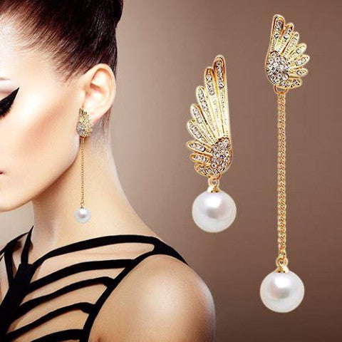 Angel Wings Rhinestones Pearl Dangle Earrings by Pesci Moda