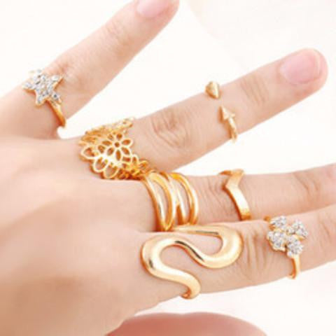 Stylish Mid Finger & Knuckle Rings (7Piece Set)