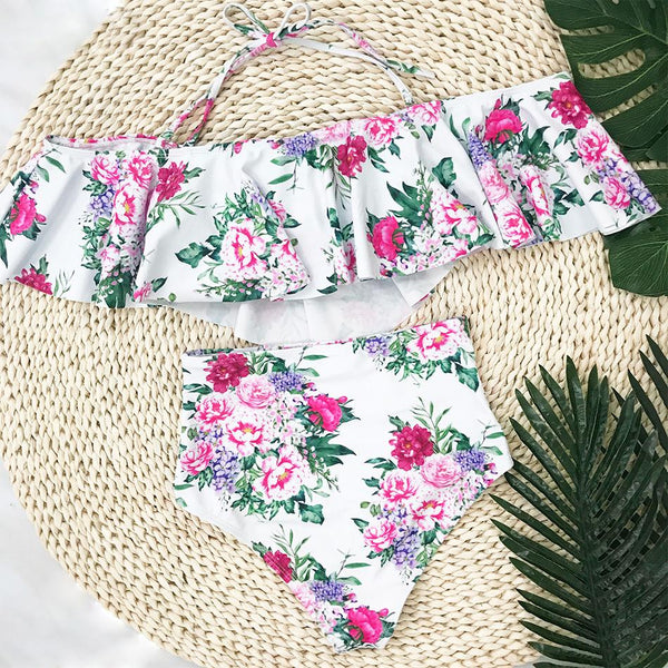 White Floral Off Shoulder Swimwear