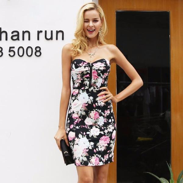 Strapless Floral Bodycon Dress by Pesci Moda