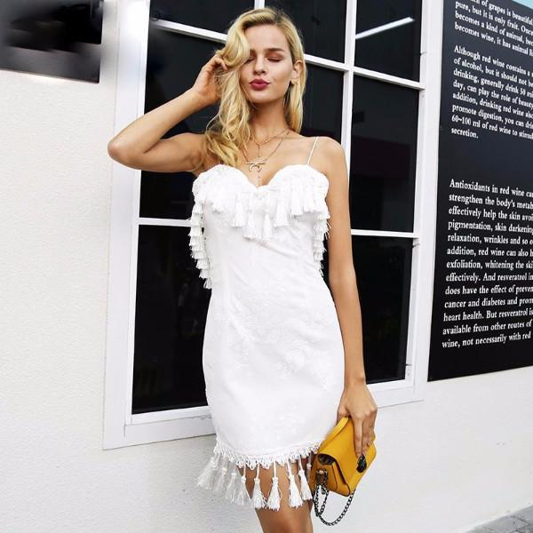 White Sequin Tassel Cocktail Dress by Pesci Moda