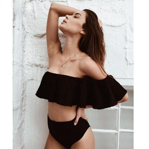 Beach Inspiring Off Shoulder Swimsuit by Pesci Moda