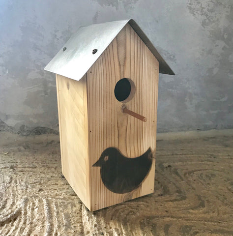 Cedar Bird House With Bird Brand