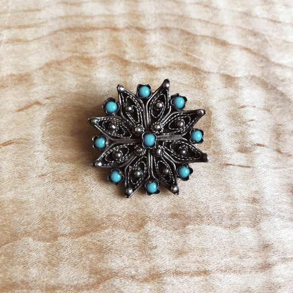 Vintage Greek Silver Filigree Brooch