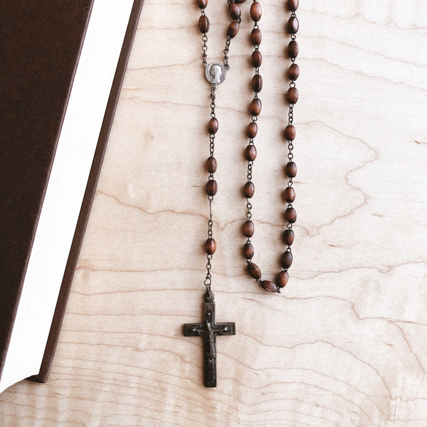Vintage Spanish Rosary with Wooden Beads