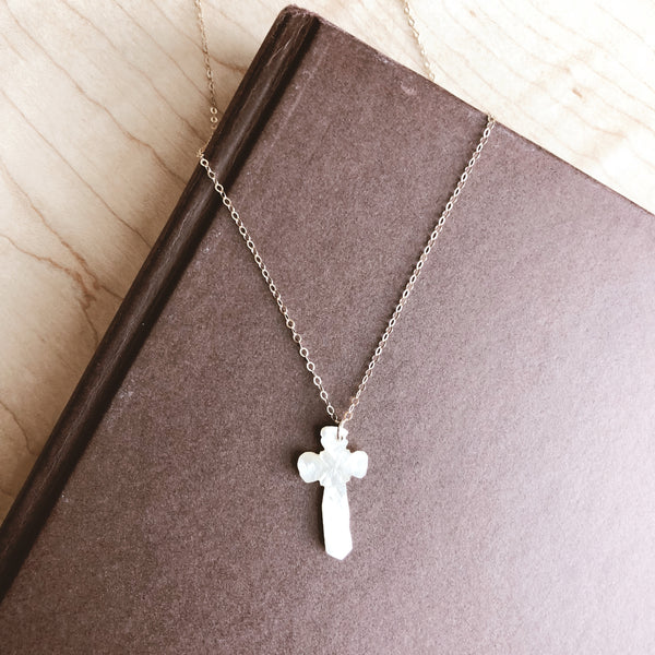 Basque Mother of Pearl Cross Necklace