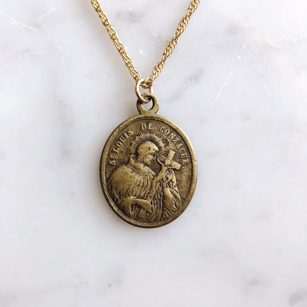 Vintage Catholic Brass Medal Necklace from Quebec, Canada