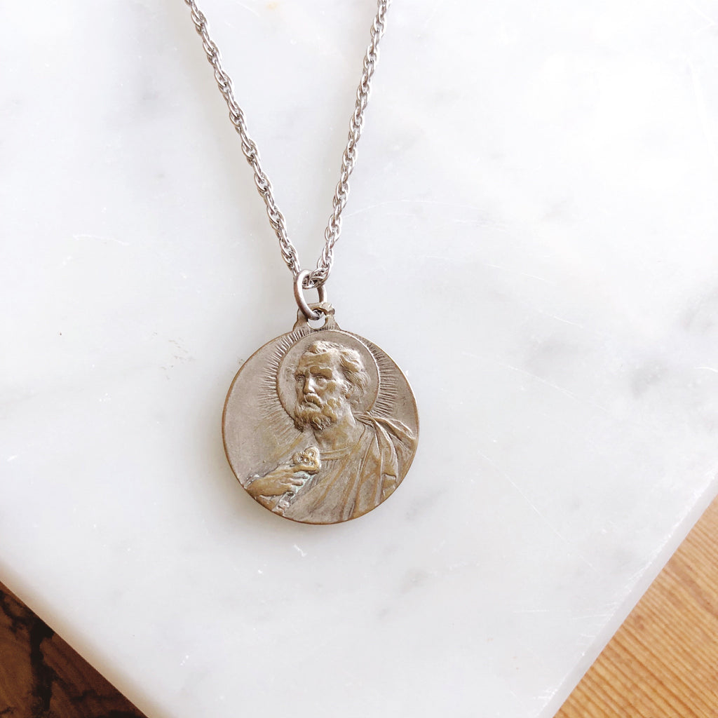 Vintage 1930s Jesus Christ + Pope Pius XI Pendant Necklace
