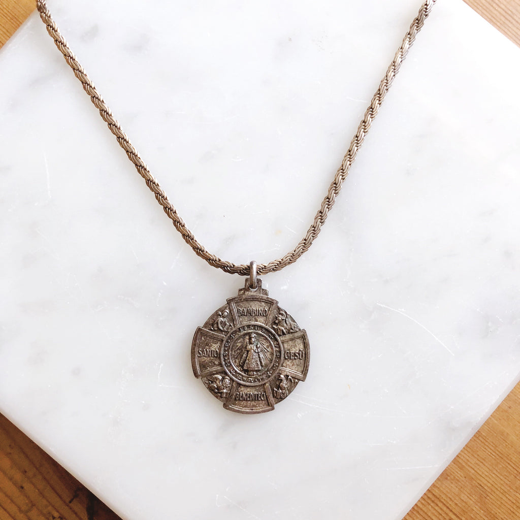 Antique Italian Santo Bambino Gesu Pendant Necklace