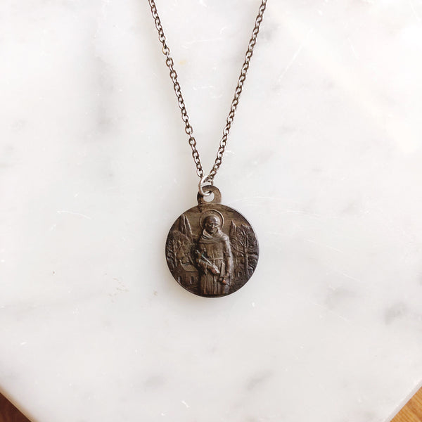 Antique Italian Saint Francis of Assisi + Saint Clara Pendant Necklace