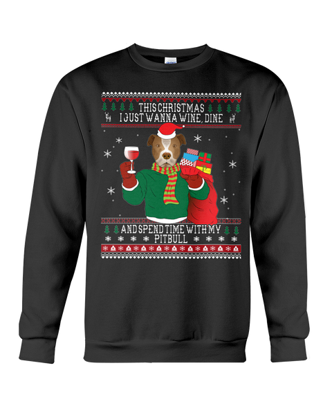 Pitbull - Wine Lovers Ugly Christmas Sweatshirts
