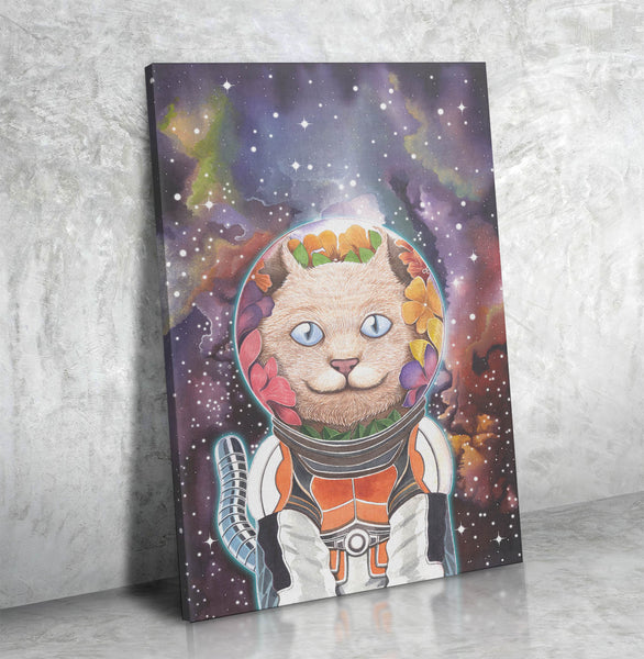 Galactic Cat Watercolor Canvas Art
