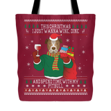 Pitbull Wine Lovers Christmas Tote Bags