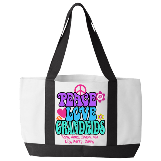 Peace Love & Grandkids - Tote Bags Personalized