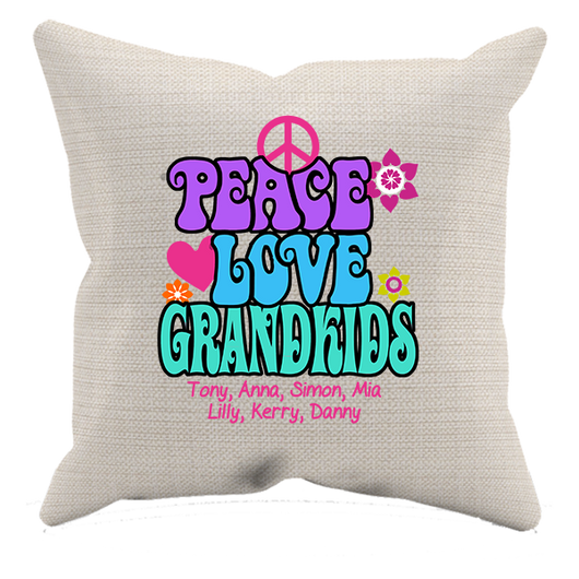 Peace Love & Grandkids Pillow Case - Personalized