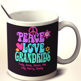 Peace Love & Grandkids - Mug - Personalized