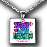 Peace, Love & Grandkids - Necklace Personalized