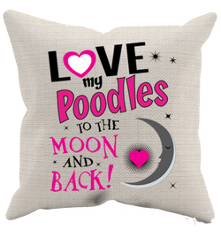Poodles - Moon & Back - Pillow Case