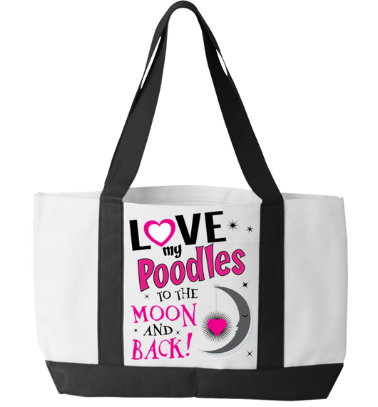 Poodles - Moon and Back - Tote bag