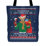 Chihuahuas Wine Lovers Christmas Tote Bags