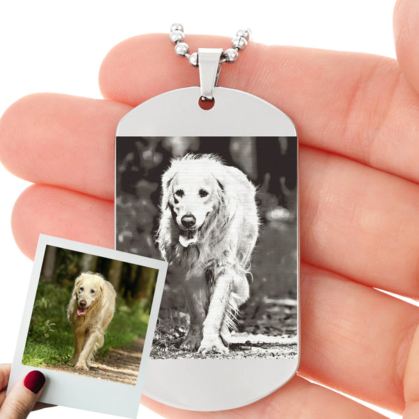 Personalized Photo Etched Dog tag for Dog Dads with  Ball chain