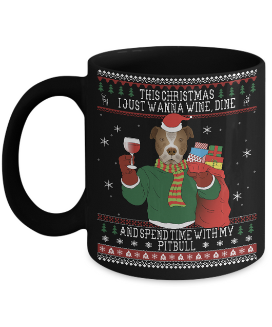 Pitbull Wine Lovers Ugly  Christmas Style Mug