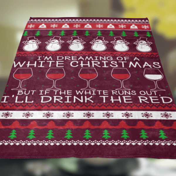 Ugly Christmas Wine Fleece Blanket