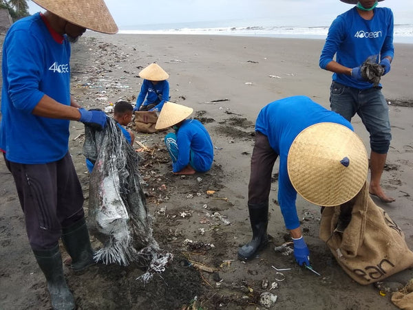 4ocean Team Cleaning a Beach in Jemrana, Bali, Indonesia