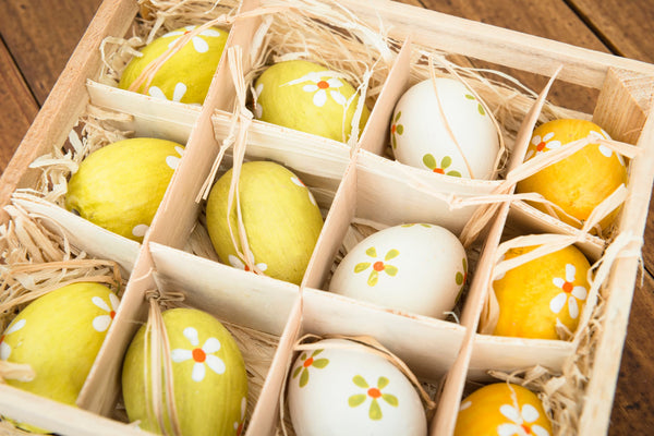 Wooden Easter Eggs in Natural Wood Container