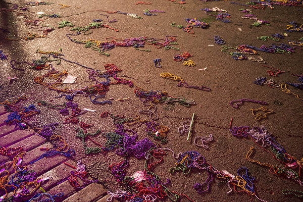 Plastic Mardi Gras Beads on the Street