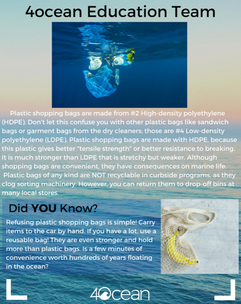 4ocean Plastic Shopping Bag Infographic