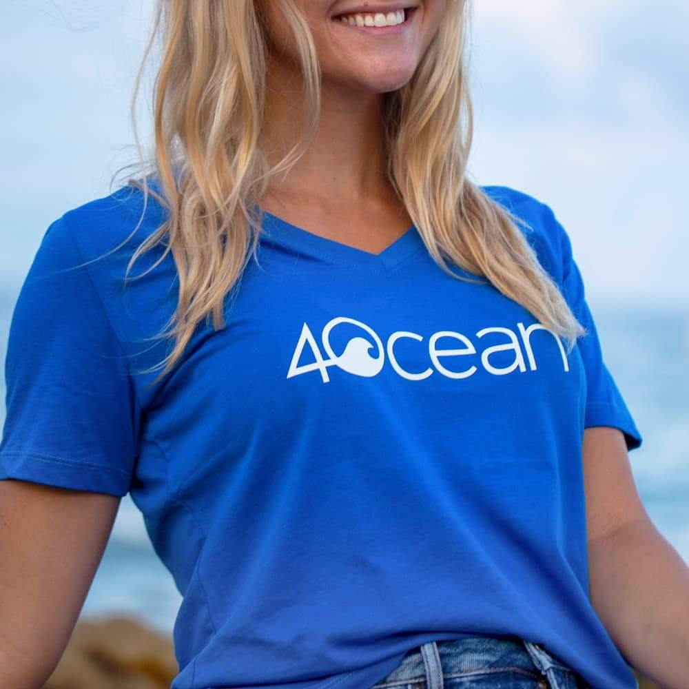Blue Women's 4ocean Logo V-Neck T-Shirt - On Woman