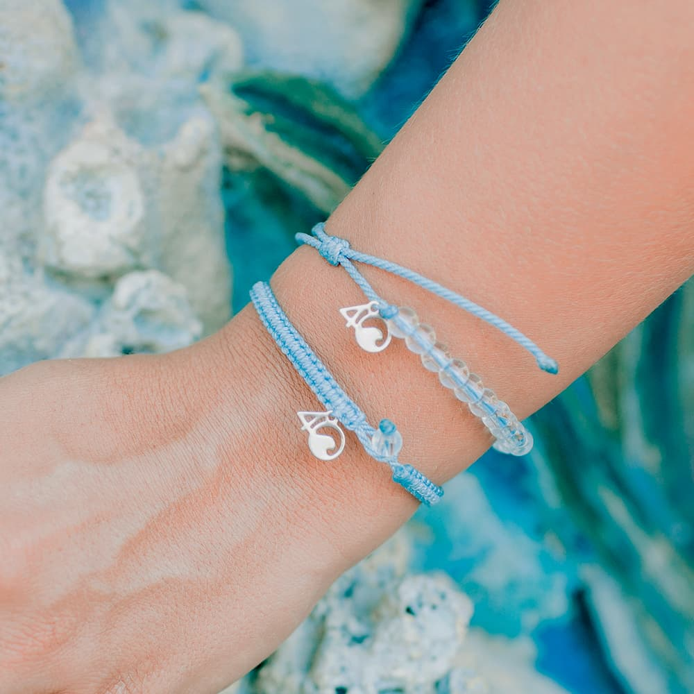 4ocean Jellyfish Beaded and Braided Bracelet 2-Pound Pack on a wrist closeup