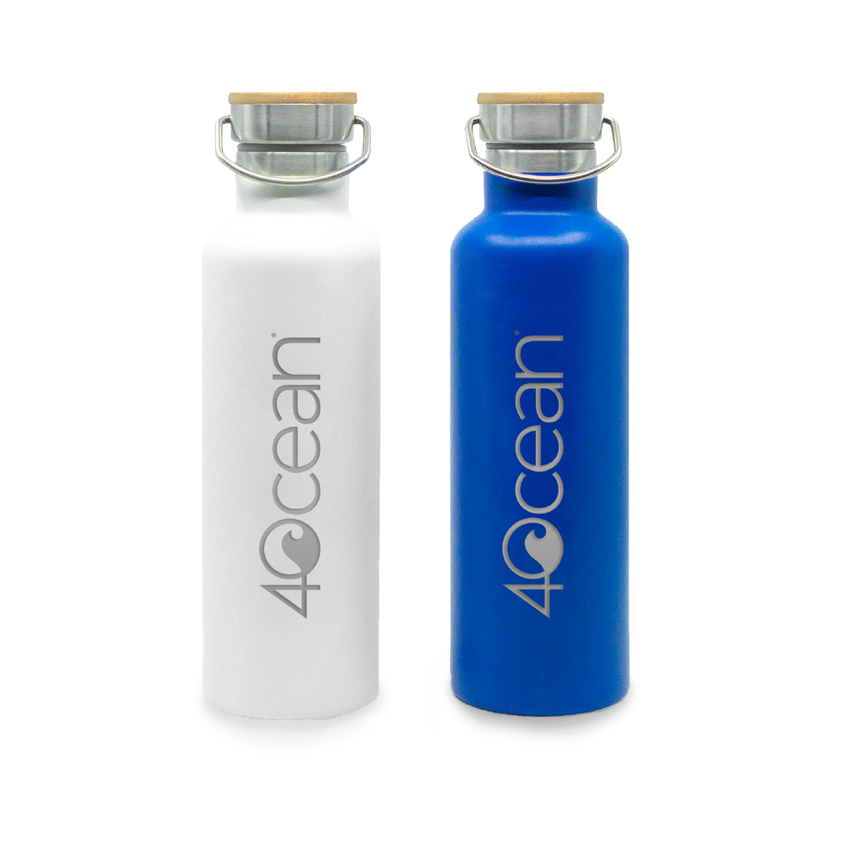 4ocean Reusable Water Bottle Comes in 4ocean Blue or White