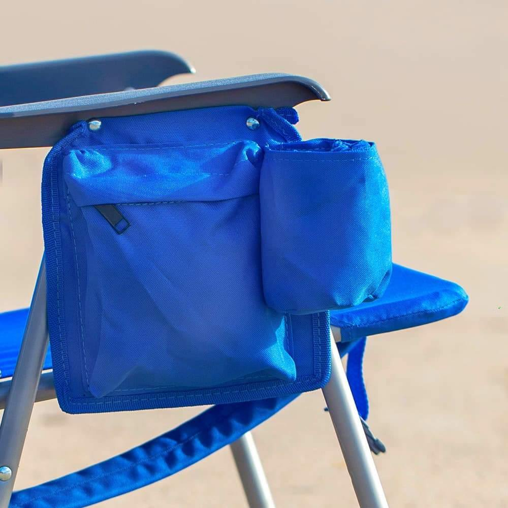 4ocean Signature Kids Backpack Beach Chair in Blue - Pouch and Cup Holder