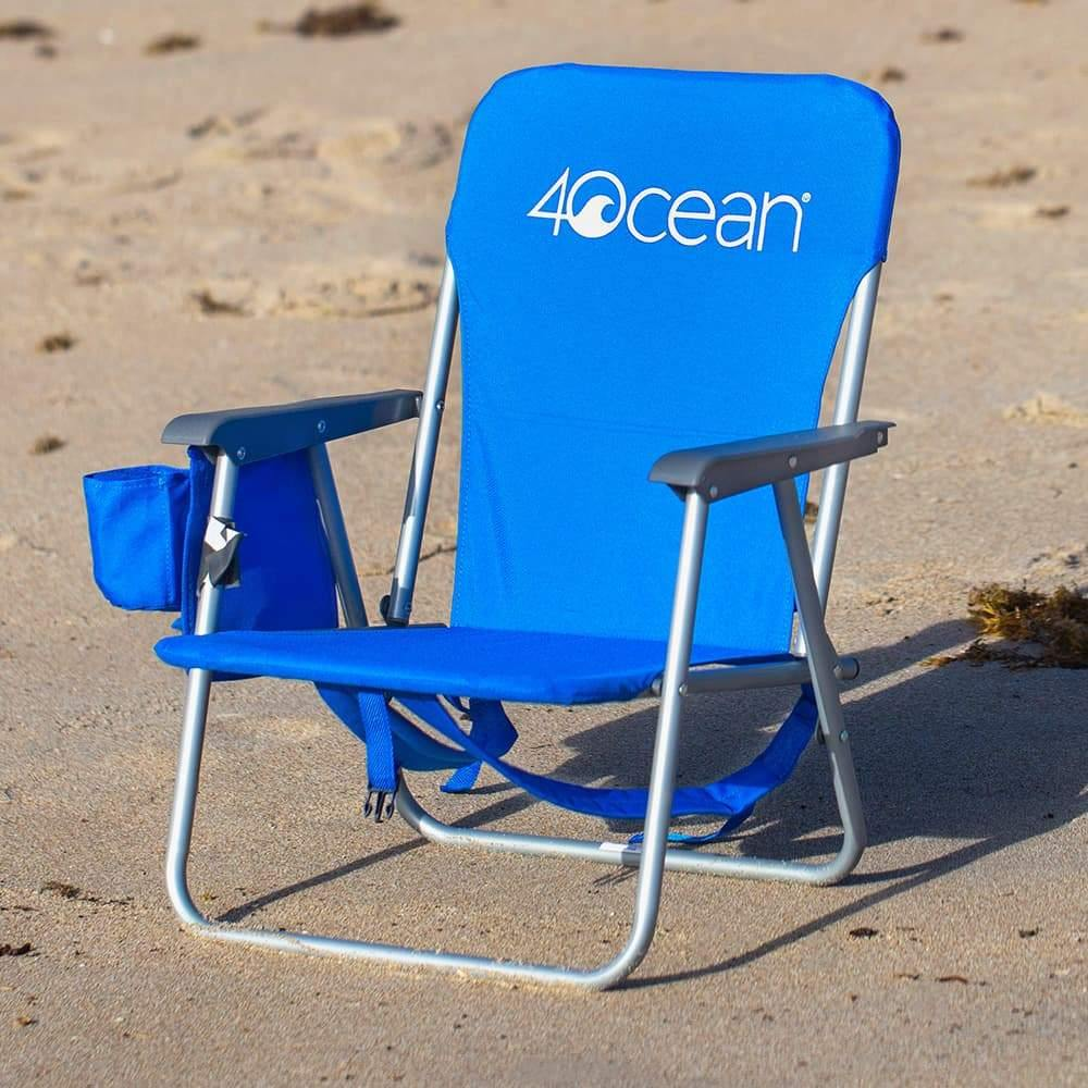 4ocean Signature Kids Backpack Beach Chair in Blue - Front View