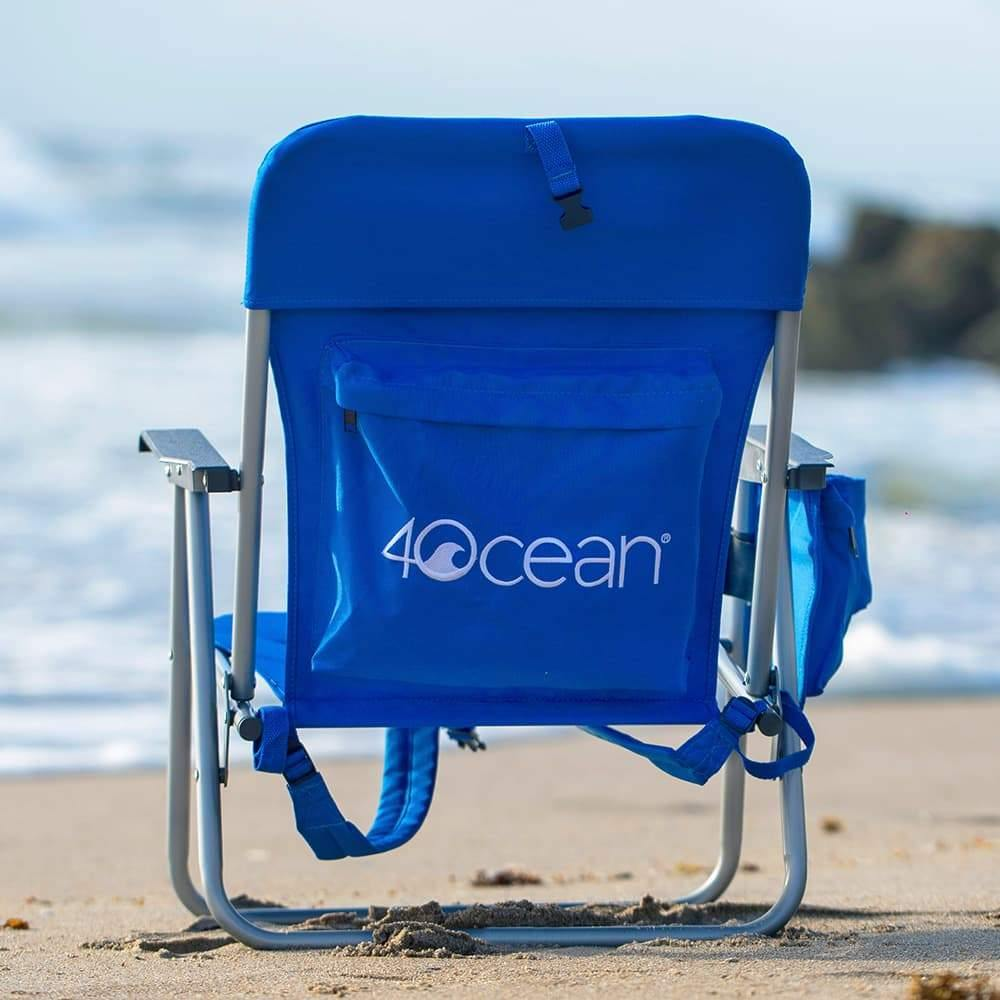 4ocean Signature Kids Backpack Beach Chair in Blue - Back View