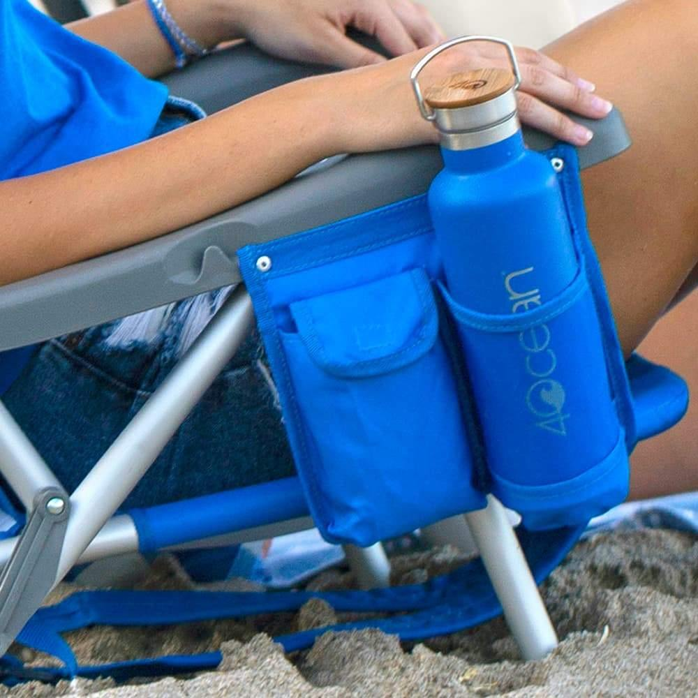 4ocean Signature Layflat Backpack Beach Chair in Blue - Cup holder