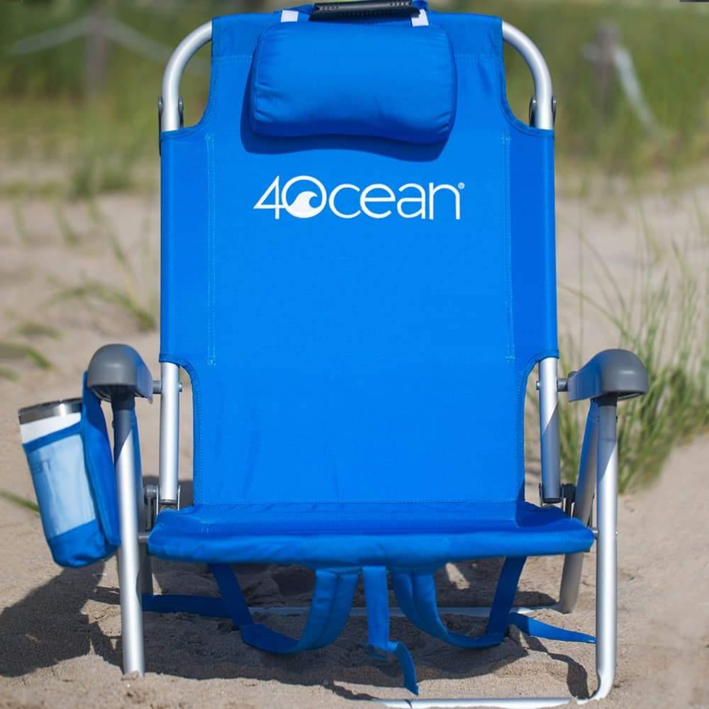 4ocean Signature Layflat Backpack Beach Chair in Blue - Front View