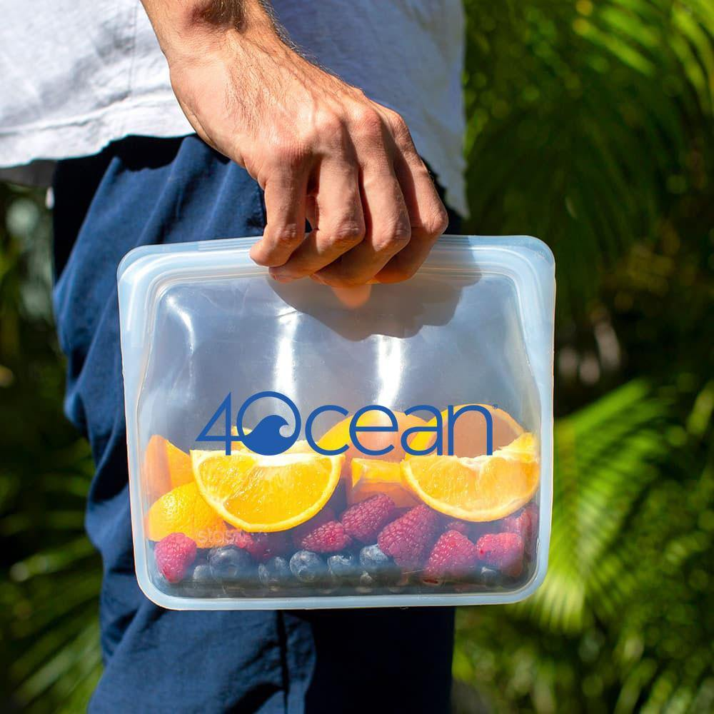 4ocean x Stasher Reusable Storage Bag 3-pack - Snack Size, Sandwich Size, Mid-Size